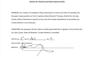 Notice of Trustee Election by Acclimation