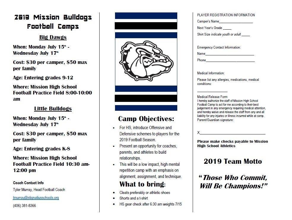2019 Mission Bulldog Football Camp